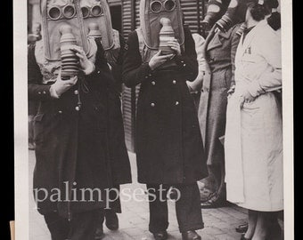 Creepy Rare Original 1940s Photo of Bronchial Patients Wearing Special Gas Masks