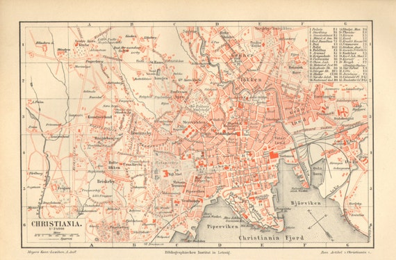 1890 city map of christiana or kristiania present oslo like this item sciox Gallery