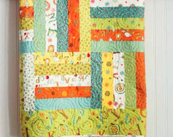 Twin Size Rail Fence Quilt - Mind Your P's and Q's - READY TO SHIP