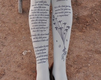 Clothing -The LITTLE PRINCE Tights Quotes - size S / M / L   full length tattoo leggings -Gray,Blue,Antique Pink