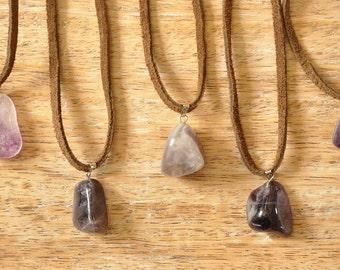 Amethyst Gemstone Suede Necklace