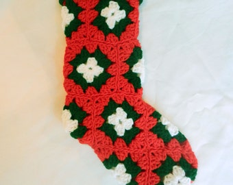 Christmas Stocking ONE Custom Red & Green Granny Square Crochet Stockings