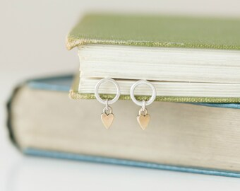 Gold stud earrings - Silver Earrings - Circle earrings - Gold heart earrings - Gold studs - Heart drop earrings