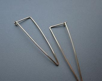 Gold Triangle Earrings Geometric Earrings in Gold wire