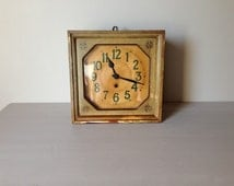 LARGE French Antique Wall Clock Tea Stained  and Soft Green Vintage School Clock