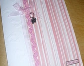 Baby Girl Birth Card - New Arrival - Baby Feet - Pink and White - Handcrafted - Cupid and Psyche