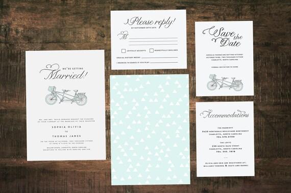 Tandem Bike Wedding Invitation Suite (Set of 25) | Wedding Invitation Set, Blue Wedding, Tandem Invitation, Custom Wedding Invitation