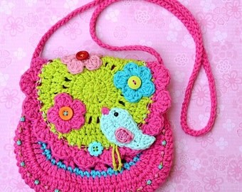 Birdie purse - crochet pattern, DIY