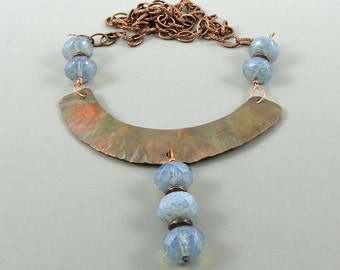 Hammered Copper Necklace, Blue Czech Glass Jewelry, Fold Formed Copper Necklace, Foldformed Copper Jewelry, Crescent Necklace