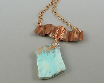 Impression Jasper Necklace, Copper Necklace, Gemstone Necklace, Metal Work Jewelry, Metalwork