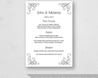 Wedding Menu Template Printable - INSTANT DOWNLOAD - For Word and Pages - Mac and PC - 5 x 7 inches