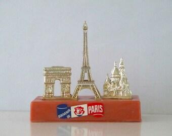 Vintage Souvenir de Paris, Eiffel Tower, Arc de Triomphe, Sacre Coeur