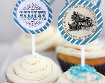 Polar Express Birthday Christmas Party Circles Favor Tags Blue - INSTANT DOWNLOAD - Editable & Printable Cupcake Topper Decorations