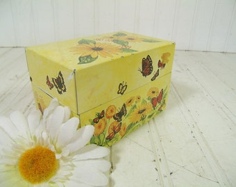 Retro Butterflies & Flowers Litho Metal Recipe Box - Vintage Multicolor Florals on Yellow Syndicate Mfg. Co. Mid Century BoHo File Organizer