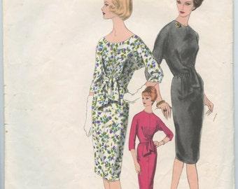 1960s Vogue Paris Original 1497 by Jacques Griffe Misses Sheath Dress with Tie Waist Vintage Sewing Pattern Bust 32
