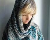Crochet PATTERN  - Ocean Mist Shawl with Detachable Button Closure
