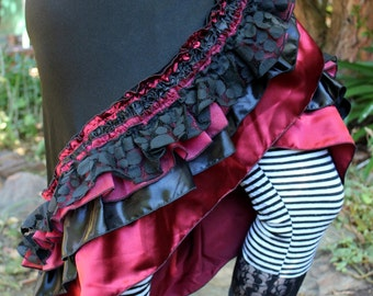 Black and Red Frilly Lace Circus Dancing Wrap Skirt