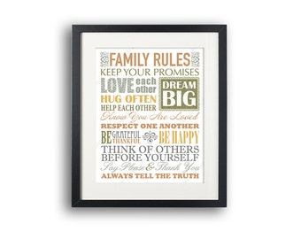 INSTANT DOWNLOAD 8x10 and 11x14 Art Print, Printable art wall decor, family rules poster Abstract art Multicolor graphic digital design
