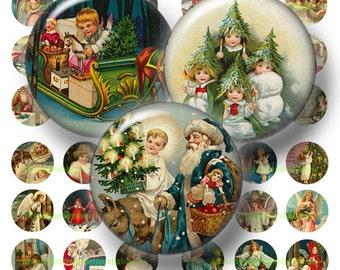 4 Vintage Christmas Digital Collage Sheets Christmas Christmas Bottle Cap Images 1 inch Circles (No.2) Vintage Christmas Images
