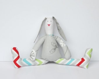 Stuffed bunny toy stuffed rabbit hare softie plush rabbit bunny doll gray red blue green chevron toy gift for boy and girl