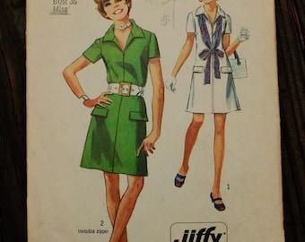 Simplicity 8874 1970s 70s Jiffy Mod ShirtDress Shirt Dress Vintage Sewing Pattern Size 14 Bust 36