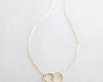 Double Trouble Necklace - gold connected circles necklace - gold two circle necklace -1233