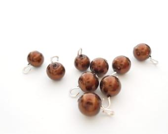 Chocolate Glass Pearl Dangle Beads
