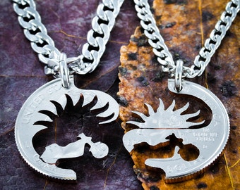 Motorcycle Necklaces, Riding into the sunset, hand cut coin