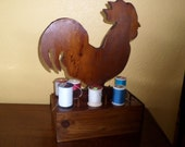 Sewing Caddy/ROOSTER/HANDMADE/OOAK/Stained Wood/Holds 14/With Drawer