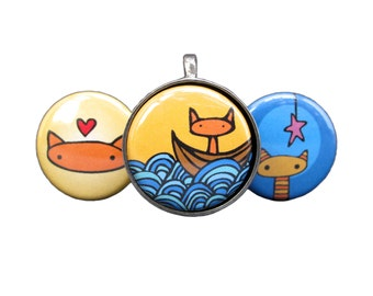 Adventure Cats Necklace Set - Magnetic Three in One Pendant Set in Gift Tin - Boat Cat, Star Cat, Orange Cat