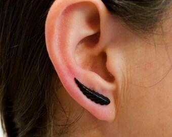 Ear Sweep Earrings Leaf Earrings Black Ear Cuff Ear pin Ear wrap Bohemian Style Jewelry Handmade - EP001H
