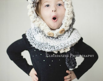 Hooded Wolf Cowl made to order, Infant to Adult sizes, wool/acrylic yarn