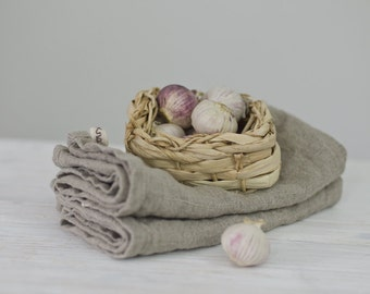 set of 2 BURLAP LINEN tea towels