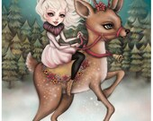 Of Fir Trees and Little Queens - Limited Edition Fine Art Print - Inspired by The Snow Queen Fairytales Christmas