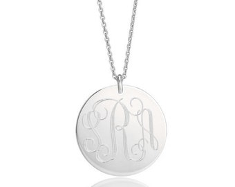 "MONOGRAM necklace in various sizes from 1/2"" to 1 inch Sterling Silver custom engraved monogrammed initial charm • personalized with names"