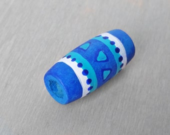 Dread Bead - Wooden Blue Dreadlock Bead - Wood Hand Painted Hair Bead - Teal Tribal Dread Bead