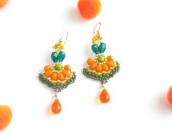 Orange, green, emerald, long dangle earrings,colorful beaded earrings,OOAK, unique original summer earrings