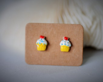 SALES!!! Delicious CUP-CAKE (Yellow Cone) with Silver Stud Earring ~ 7 mm - Girls / Casual / Cutie