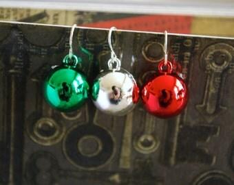 Ornament Earrings -- Christmas Ornament Earrings, Christmas Earrings, Xmas, Pick your favorite color!