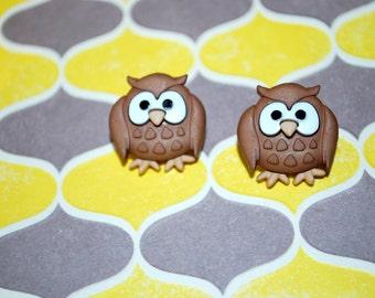 Brown Owl Earrings -- Owl Studs, Hoot Hoot, Owl