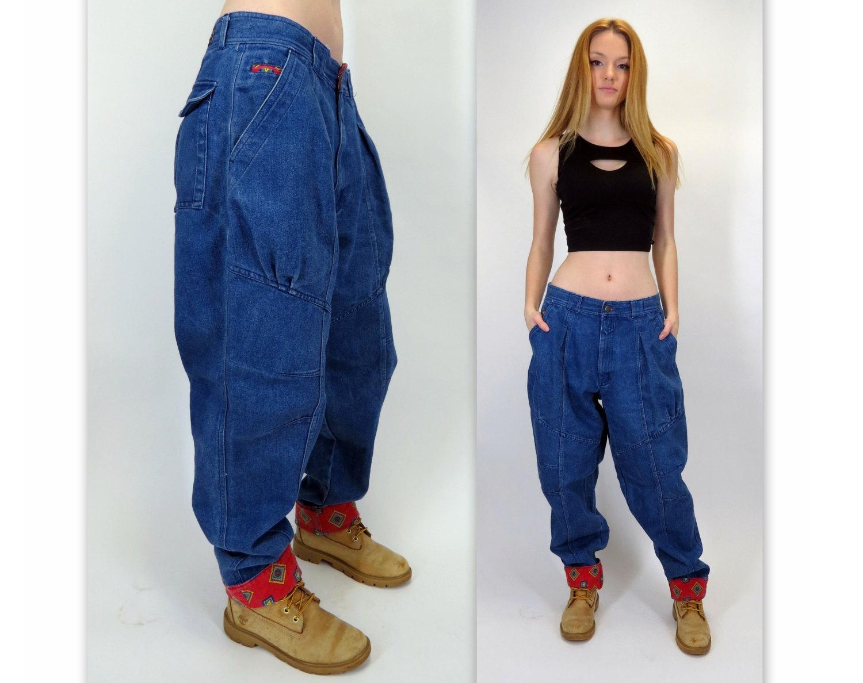 Vintage 80s 90s Baggy Pleated Loose Denim Oversized Boyfriend