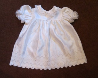 60's White Silky Flower Embroidered Design Baby Dress