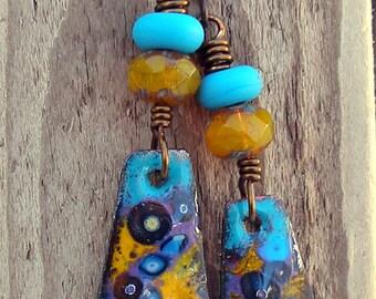 Marigolds---Purple, Teal and Yellow Rustic Copper Enameled Boho Earthy Earrings   570