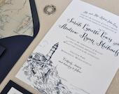 Nautical Wedding Invitation - Coastal Wedding - Preppy - Nautical - Seaside