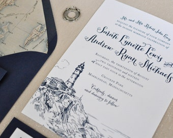 Nautical Wedding Invitation - Coastal Wedding - Preppy - Nautical - Seaside