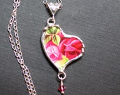 Necklace, Broken China Jewelry, Broken China Necklace, Heart Pendant, Old Country Rose, Sterling Silver