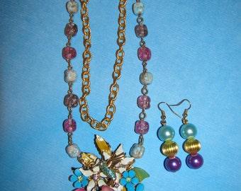 Vintage Handmade Ooak Humming Bird Flower Garden Rhinestone Enamel Flower Necklace Earrings Set