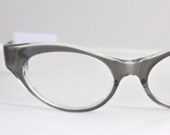 Vintage 50's Gray Wrap Cat Eye Eyeglasses Sunglass Frames
