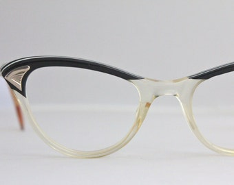 Vintage 50's Black 12K Cat Eye Eyeglasses