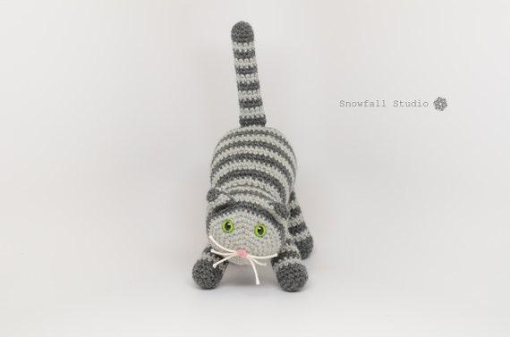 SALE Gray Cat - Stuffed Cat Crochet Toy - Eco Friendly Toy